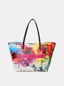 Bílo-růžová vzorovaná kabelka Desigual Sicilia