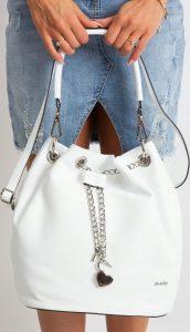 Rovicky bílá kožená kabelka TD-023 BIANCO Velikost: univerzální