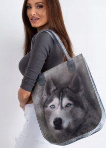 LORENTI Šedá taška s potiskem psa 065 Velikost: univerzální