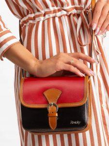Rovicky kožená kabelka TM-085 RED-BLACK Velikost: univerzální