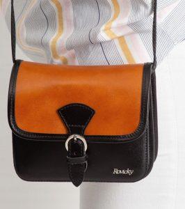 Rovicky kožená kabelka TM-085 CAMEL-BLACK Velikost: univerzální