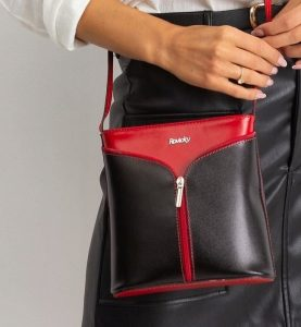 Rovicky kožená kabelka TM-08 RED-BLACK Velikost: univerzální