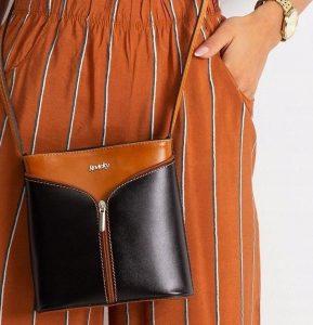 Rovicky kožená kabelka TM-08 CAMEL-BLACK Velikost: univerzální