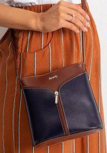 Rovicky kožená kabelka TM-08 BROWN-NAVY Velikost: univerzální