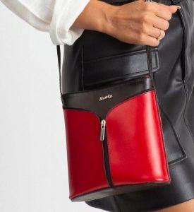 Rovicky kožená kabelka TM-08 BLACK-RED Velikost: univerzální