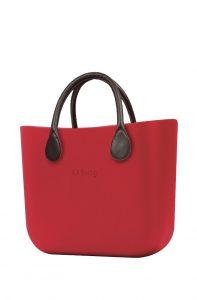 O bag kabelka MINI Ciliegia s hnědými krátkými koženkovými držadly