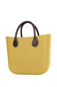 O bag kabelka MINI Curry s hnědými krátkými koženkovými držadly