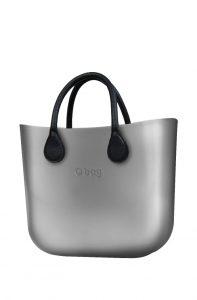O bag kabelka MINI Silver s černými krátkými koženkovými držadly