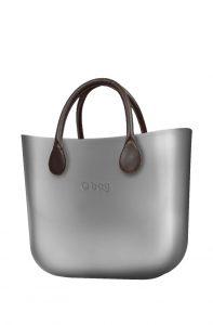 O bag kabelka MINI Silver s hnědými krátkými koženkovými držadly