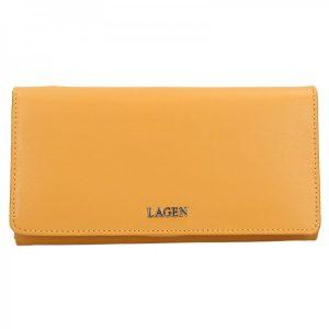 Dámská kožená peněženka Lagen Evelin – žlutá
