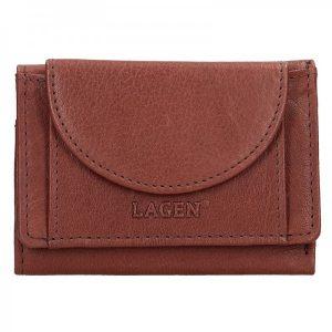 Dámská kožená slim peněženka Lagen Mellba – hnědá