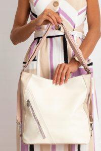 BASIC Dámská krémová shopper kabelka 0014-2 Velikost: univerzální