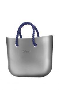 O bag kabelka MINI Silver s tmavě modrými krátkými provazy