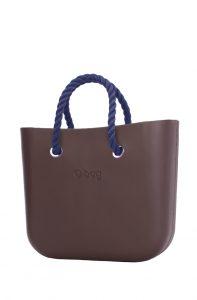 O bag kabelka MINI Chocolate s tmavě modrými krátkými provazy