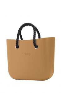 O bag kabelka MINI Biscotto s černými krátkými provazy