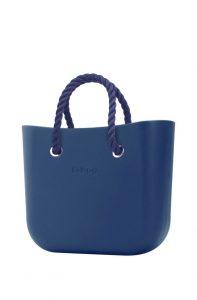 O bag kabelka MINI Bluette s tmavě modrými krátkými provazy