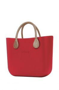 O bag kabelka MINI Ciliegia s krátkými koženkovými držadly natural