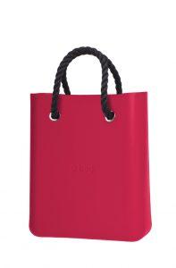 O bag růžová kabelka O Chic Amaranto s černými krátkými provazy