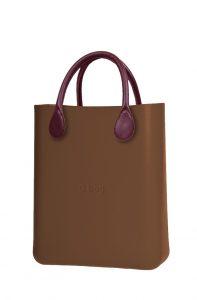 O bag bronzová kabelka O Chic Bronzo s bordovými krátkými koženkovými držadly