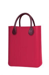 O bag růžová kabelka O Chic Amaranto s bordovými krátkými koženkovými držadly