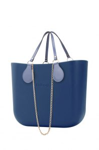 O bag modré kabelka MINI Bluette s řetízkovým držadlem a modrou koženkou