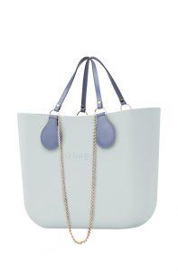 O bag modré kabelka MINI Polvere s řetízkovým držadlem a modrou koženkou