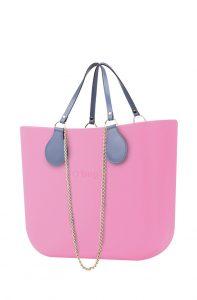 O bag kabelka MINI Pink s řetízkovým držadlem a modrou koženkou