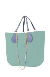 O bag kabelka MINI Turchese s řetízkovým držadlem a modrou koženkou