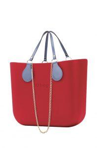 O bag kabelka MINI Fragola s řetízkovým držadlem a modrou koženkou