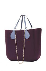 O bag kabelka MINI Melanzana s řetízkovým držadlem a modrou koženkou