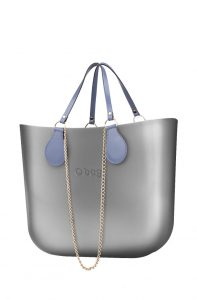 O bag kabelka MINI Silver s řetízkovým držadlem a modrou koženkou
