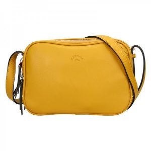 Kožená dámská crosbody kabelka Katana Mellisa – žlutá