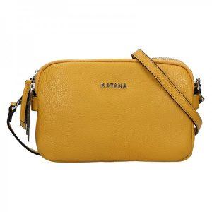 Kožená dámská crosbody kabelka Katana Patricia – žlutá