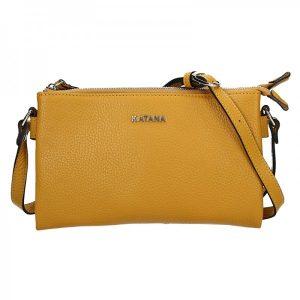 Kožená dámská crosbody kabelka Katana Elisn – žlutá