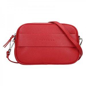 Trendy dámská kožená ledvinko crossbody kabelka Facebag – červená