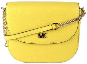 Michael Kors Elegantní crossbody kabelka Mott Pebbled Leather Dome Crossbody Bag Yellow