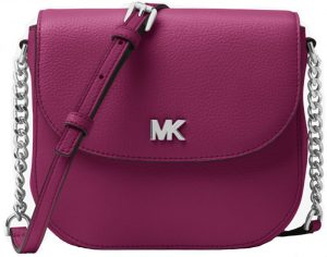 Michael Kors Elegantní crossbody kabelka Mott Pebbled Leather Dome Crossbody Bag Garnet