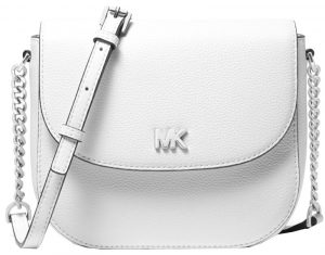Michael Kors Elegantní crossbody kabelka Mott Pebbled Leather Dome Crossbody Bag Optic White