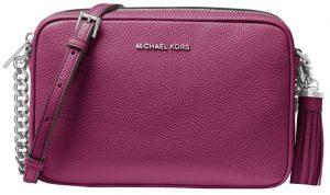 Michael Kors Elegantní crossbody kabelka Ginny Leather Crossbody Bag Garnet