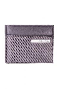 Calvin Klein černá pánská kožená peněženka Carbon Leather 5 CC Coin Black