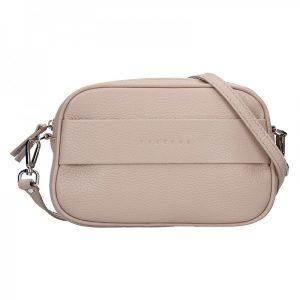 Trendy dámská kožená ledvinko crossbody kabelka Facebag – růžová
