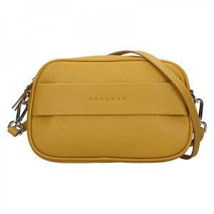 Trendy dámská kožená ledvinko crossbody kabelka Facebag – Hořčicová