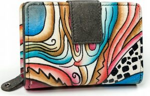 BASIC Dámská barevná peněženka s potiskem M-N109-ART-07_4533 BLACK Velikost: univerzální