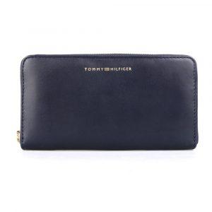 Tommy Hilfiger Dámská kožená peněženka Soft Turnlock Large AW0AW07124 – tmavě modrá