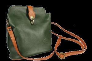 Italská kožená kabelka Piazza Verde Scura Camel