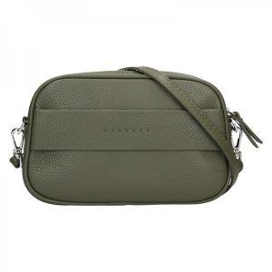 Trendy dámská kožená ledvinko crossbody kabelka Facebag – olivová