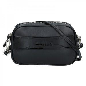 Trendy dámská kožená ledvinko crossbody kabelka Facebag – černá