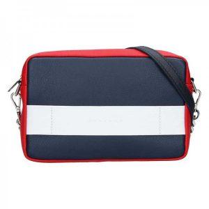 Trendy dámská kožená crossbody kabelka Facebag Ninas – modro-červeno-bílá
