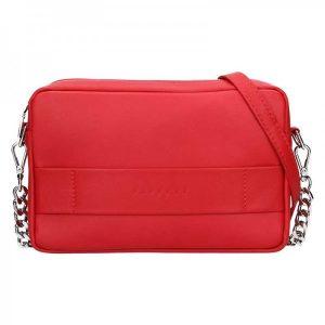 Trendy dámská kožená crossbody kabelka Facebag Ninas – červená