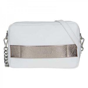 Trendy dámská kožená crossbody kabelka Facebag Ninas – bílo-zlatá